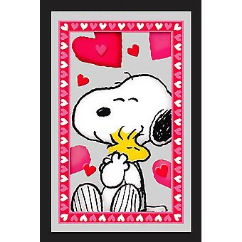 Peanuts hearts Snoopy hugs Woodstock wall mirror with black plastic frame, wood.