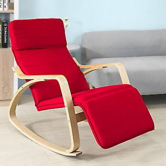 SoBuy Relax Rocking Chair Cushion & Réglable Footrest, FST16-R Rouge