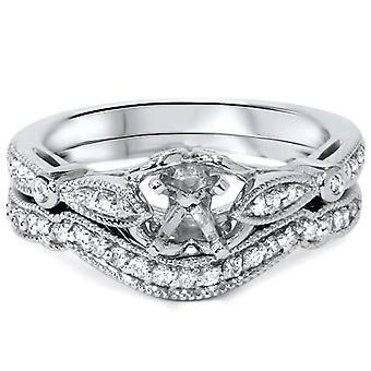 Vintage Diamond Bague de fiançailles Semi Mont réglage demi-jonc Art Deco Filigree