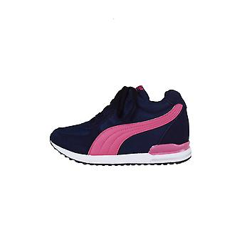 Lovemystyle Navy Wedge Trainers With Pink Accent