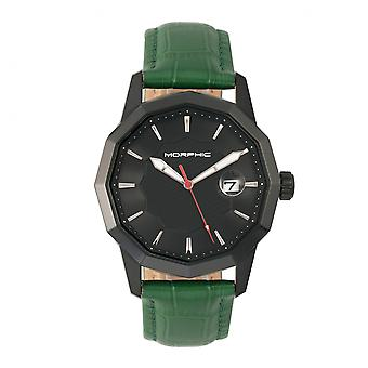 Morphic M56 Series Leather-Band Watch w/Date - Black/Green