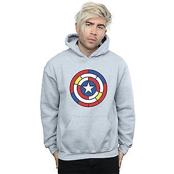 Émerveillez-vous Captain America Stained Glass Shield Hoodie des hommes