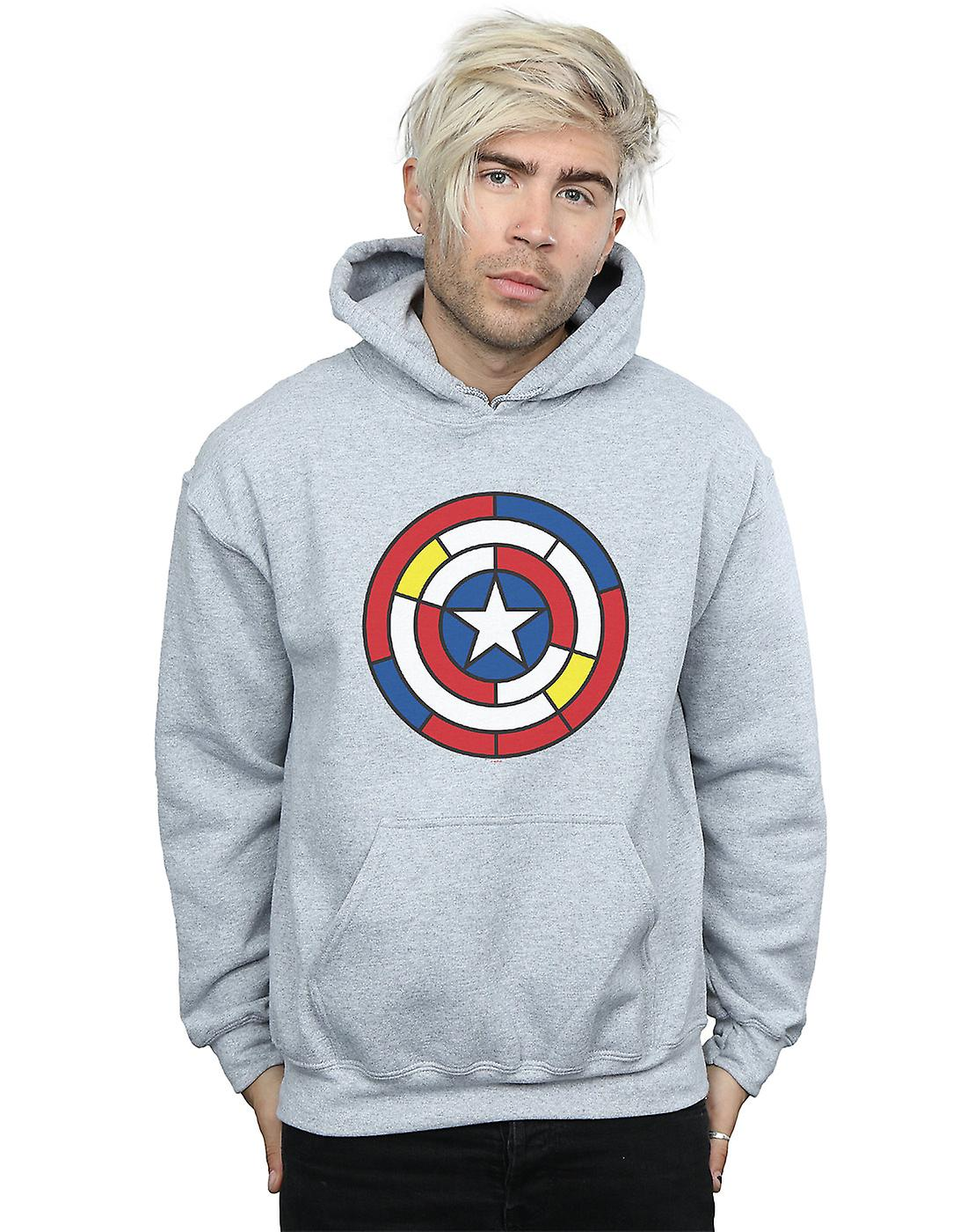 Marvel Men's Captain America Stained Glass Shield Hoodie