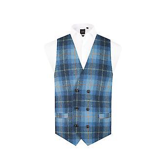 Schottische Harris Tweed Herren blau Check Tweed Weste regelmäßige Pass 100 % Wolle Doppel brusted