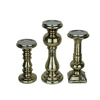 Antiqued Gold Mercury Glass Pillar Candle Holder Set of 3