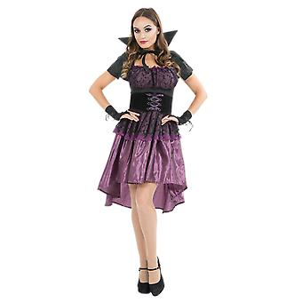 Womens Purple Lace Gothic Halloween Vampire Fancy Dress Costume