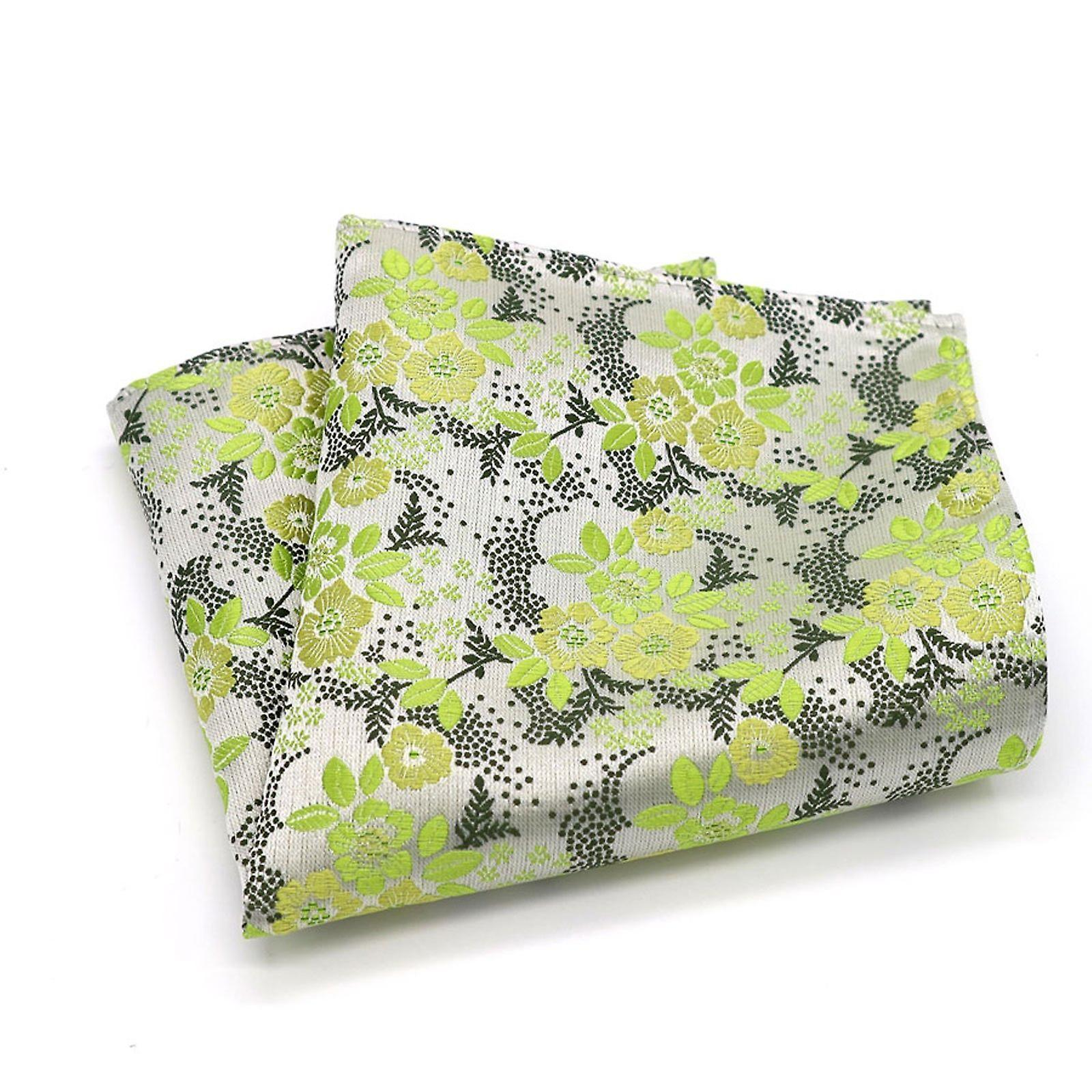 Light green & silver mixed wedding floral pocket square