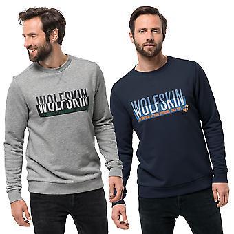 Jack Wolfskin hombres eslogan mangas largas suave Terry tela Logo suéter