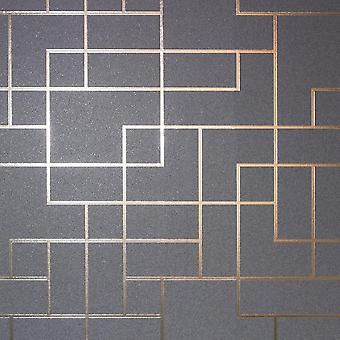Metallic Square Geometric Wallpaper Charcoal Grey Rose Gold Silver Fine Decor