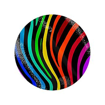 Grindstore Rainbow Stripes Circular Glass Chopping Board