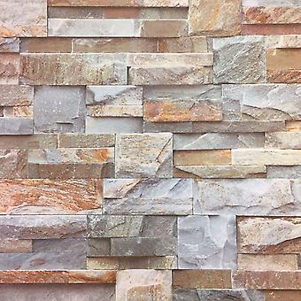 3D Brown Slate Brick Stone Effect Wallpaper Luxury Textured Non Woven Vinyl