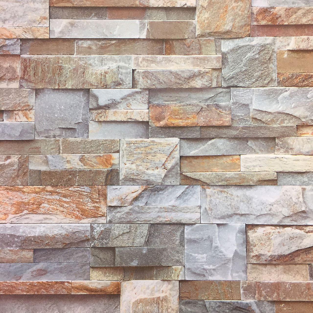 3D Brown Slate Brick Stone Effect Wallpaper Luxury Textured Non Woven Vinyl