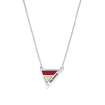University Of Oklahoma Engraved Sterling Silver Diamond Geometric Necklace In Red & Tan