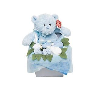 Flower Stork Teddy Bouquet Box Blue 3-6 kuukautta
