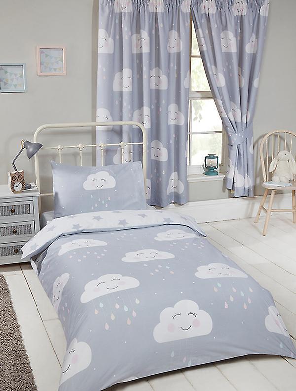 Happy Clouds 4 in 1 Junior Bedding Bundle Set (Duvet, Pillow and