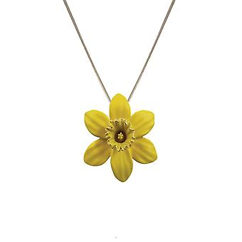 Eternal Collection Daffodil With Trumpet Yellow Enamel Silver Tone Pendant Necklace