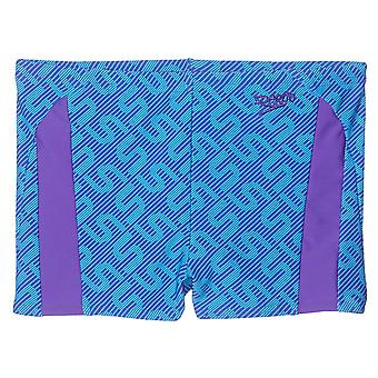 Speedo Monogram Allover Kids Boys Swimming Aquashort Water Short Blue/Purple