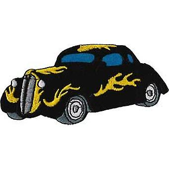 Patch - Automoblies - Black Hot Rod with Flames Iron On Gifts New Licensed p-3781