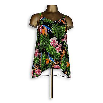 Denim & Co. badpak strand Hi-lage Tankini top Floral zwart A345640