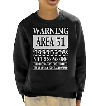Warning Area 51 Restricted Access Kid's Sweatshirt