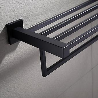 600mm Black Towel Shelf Double Bar Rack Rail Holder Wall Mount SS304
