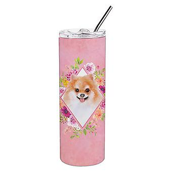 Pomeranian #1 Pink Flowers Double Walled Stainless Steel 20 oz Skinny Tumbler