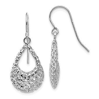 14k White Gold Sparkle Cut Shepherd Hook Earrings Jewelry Gifts for Women - 1.3 Grams