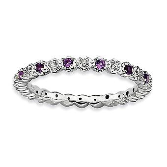 925 Sterling Silver Polished Prong set Rhodium plated Stackable Expressions Amethyst and Diamond Ring Jewelry Gifts for