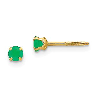 14k Yellow Gold Polished Screw back Post Earrings 3mm Emerald for boys or girls Earrings Measures 4x4mm