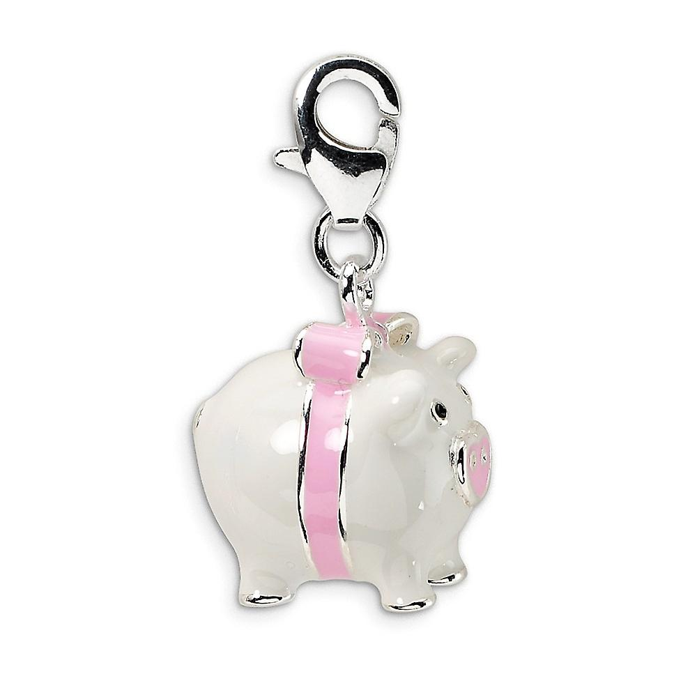 925 Sterling Silver Rhodium-plated Fancy Lobster Closure 3-D Enameled Pig With Lobster Clasp Charm - Measures 26x12mm