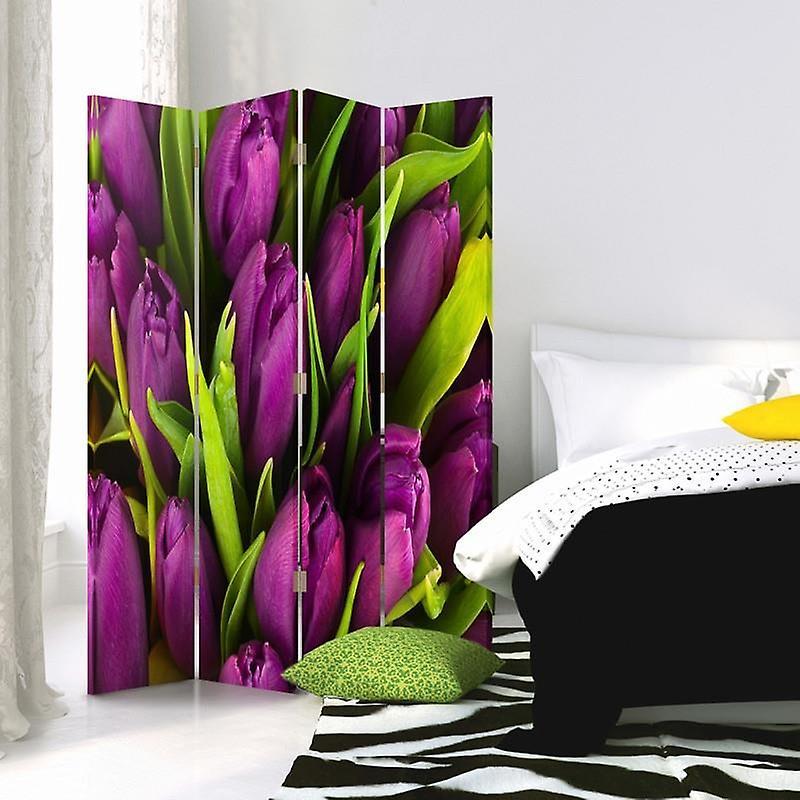 Diviseur de chambre, 4 panneaux, double-sided, Rotatable 360, toile, tulipes Claret
