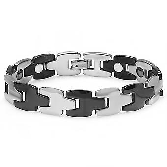 Dazzlingrock Collection Tungsten Carbide Black & White Plated Magnetic Therapy Men Link Bracelet (12.5MM Width x 7.5Inch Length)