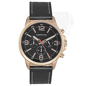 Morphic M86 Series Chronograph Leather-Band Watch - Rose Gold/Black
