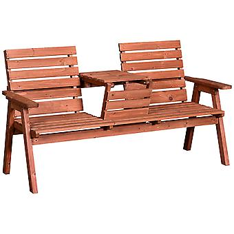Outsunny Convertable 3-Seater Wood Bench Table Garden Outdoor Slatted w/ Armrests Patio Seat Furniture Porch Loveseat