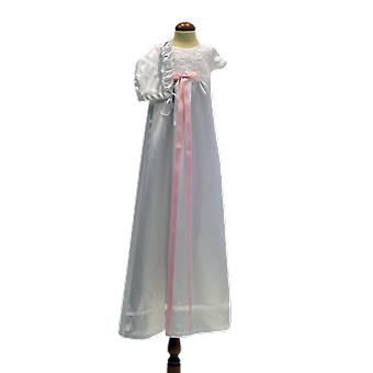 White Christening Dress And Bonnet, With Bright Pink Slim Rosette Ma.v