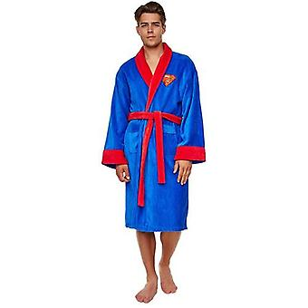 Groovy DC Comic Superman Unisex Adult Fleece Dressing Gown Bathrobe - One Size