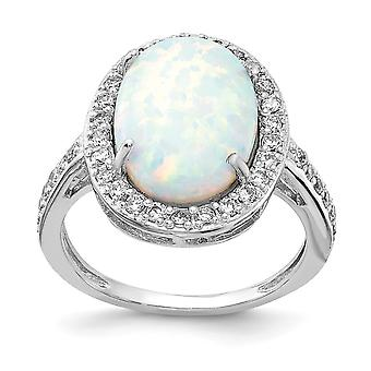 Cheryl M 925 Sterling Silver Cubic Zirconia and Simulated Opal Ring Jewelry Gifts for Women - Ring Size: 6 to 8