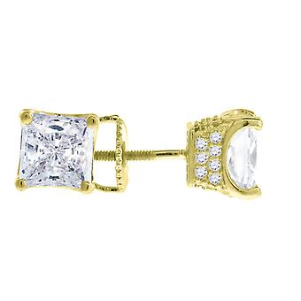 925 Sterling Silver Yellow tone Mens CZ Cubic Zirconia Simulated Diamond 6mm Princess cut White Stone Earrings Jewelry G