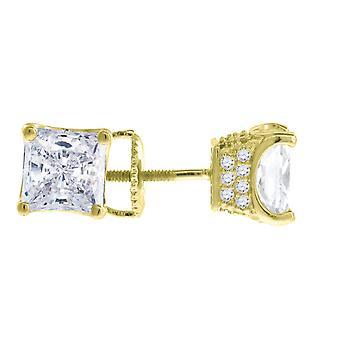 925 Sterling Silver Yellow tone Mens CZ Cubic Zirconia Simulated Diamond 6mm Princesa cortou White Stone Brincos Joias G