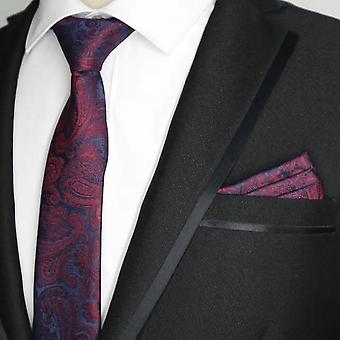 Red wine paisley skinny slim tie & pocket square set