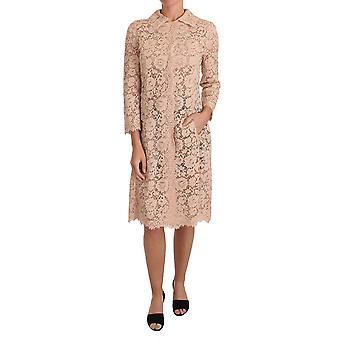 Dolce & Gabbana Pink Floral Lace Long Cape Coat