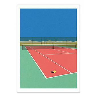 Art-Poster - Tennisbaan in de woestijn - Rosi Feist