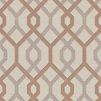 A.S. Creation AS Creation Jewel Geometric Wallpaper Glitter Trellis Cream Rose Gold 36874-2