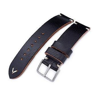 Strapcode leather watch strap 20mm, 21mm, 22mm miltat black genuine calf leather watch strap, beige stitching, sandblasted buckle