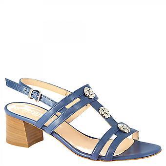 Leonardo Scarpe Donne's tacchi fatti a mano sandali blu pelle cobalto fiori remi gioielli