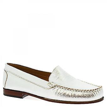 Leonardo Shoes Damskie&s handmade slip na mokasyny buty srebrna skóra laminowana