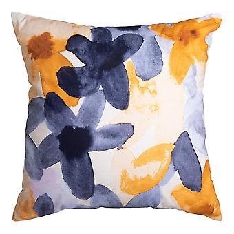 Bloom Digital Printed Cushion 50x50cm Mustard/Indigo