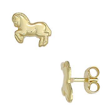 أطفال ترصيع الخيول 333 الذهب الذهبي أقراط الذهب الاطفال