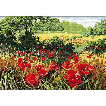 Kit de punto de cruz de arte Abris - Poppy Field