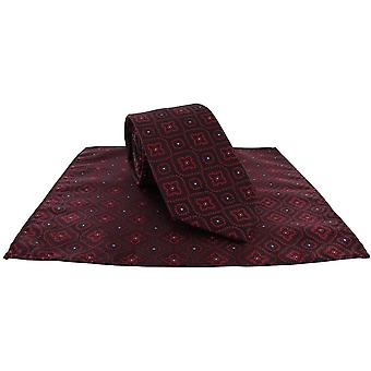Michelsons of London Traditional Medallion Tie and Pocket Square Set - Navy/Brown